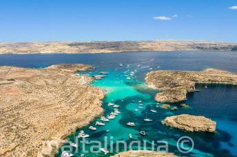 Légifotó a Kék Lagúnáról, Cominón, Máltán