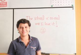 Egy elégedett tanuló visszajelzése a táblán